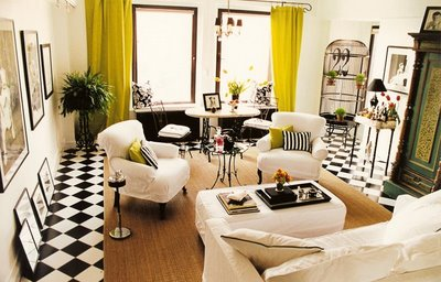 Sketch42 drapes and shades - Black and yellow living room ...