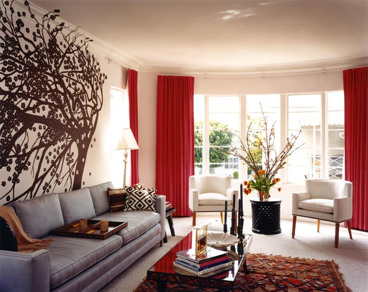 Drapes and shades nicole cohen - Gray walls brown furniture living room ...